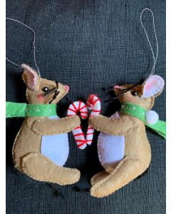 Christmas Tree Ornaments, Rat with Green Scarf.