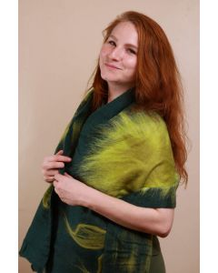 Dark Green Scarf With Light Green Flower