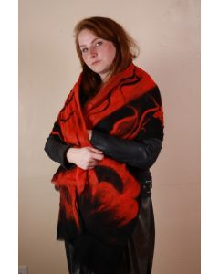 Black and Red Scarf with Red Flower