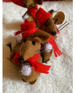 Christmas Tree Handmade Ornaments. Brown Rats with Snowball