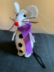 Christmas Tree Ornaments. White Rats with Purple scarf.