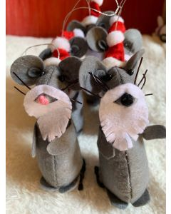 Christmas Tree Ornaments. Grey Rats in Mustache