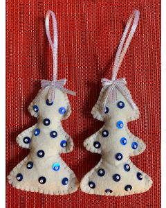 Christmas Tree Ornaments.White Tree with Blue And White Sequins