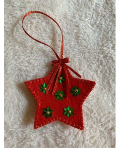 Christmas Tree Ornament. Handmade Felted wool Red Star.