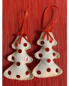 Christmas Tree Ornaments. White Trees with Red Sequins.