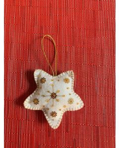 Christmas Tree Ornament. Handmade Felted Wool, White Star