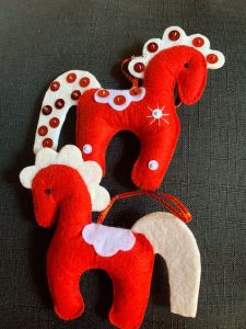 Handmade Christmas Tree Ornaments. The Red Wool Horses