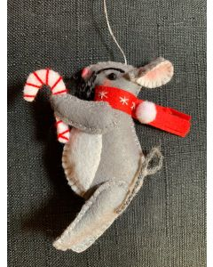 Christmas Tree Ornaments. Light Grey Rat with Candy Cane